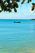 Barco azul y mar Vertical