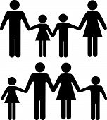 Mom Dad Boy Girl Family Holding Hands Symbols