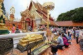 CHIANGMAI - NOVEMBER 30: Locals and tourists come to pray at the Doi Suthep Temple in Chiang Mai, Th