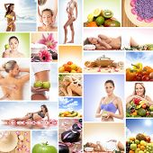 Spa, massaging, fitness and nutrition - collage