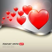 Red heart background shiny and glossy, vector illustration.