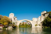 Ancient Bridge Over Neretva River In Mostar