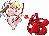 Cupid shoots hearts