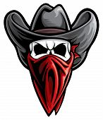 stock photo of skull bones  - Cowboy outlaw skull bandit isolated on a white background - JPG