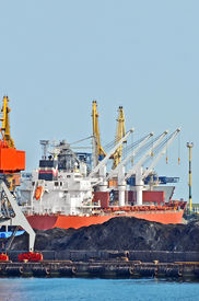 picture of coal barge  - Cargo crane ship freight traine and coal in port - JPG