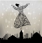 image of sufi  - Istanbul skyline drawn in calligraphy on the whirling dervishes - JPG