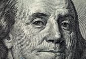 Fragment Of One Hundred Dollars Bill With Face Of Benjamin Franklin