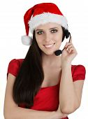stock photo of telemarketing  - Young woman - JPG
