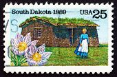 Postage Stamp Usa 1989 Pioneer Woman And Sod House