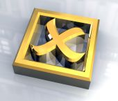 ko tick in gold isolated - 3D