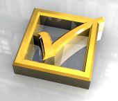 ok tick in gold isolated - 3D