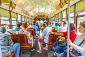 Passengers Fill The Seats Of One Of The Historic Green St. Charles Avenue Street Car