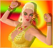 Blond dance girl on orange swirl background