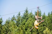 stock photo of upside  - Full length of young man hanging upside down on zip line against trees in forest - JPG