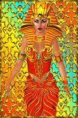 Pharaoh woman, front view, abstract background