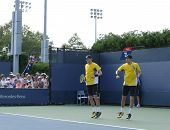 Grand Slam champions Mike and Bob Bryan during first round doubles match at US Open 2013