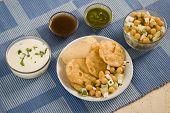 Stuffed Panipuri With Curd And Sweet Tamarind, Indian Dish