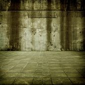 Large concrete space. Concrete wall and floor