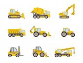stock photo of earth-mover  - set of heavy equipment icons - JPG
