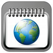 Vector app calendar icon with earth globe for web applications. All layers well organized and easy to edit