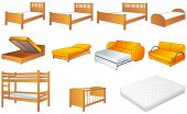 Various bedroom furniture: bed, cot, couch with adjustable back, sofa, unfolded sofa-bed, platform storage bed, bunk-bed, mattress