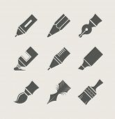 Pens and brushes for drawing. Set of simple icons. Vector illustration.