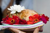 Baked Chicken Decorated With Flowers