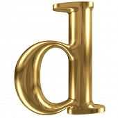 Golden font type letter d lowercase
