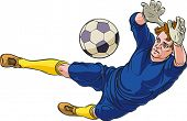 Goalkeeper is catching a ball. Low diving. Editable vector illustration.