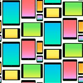 Seamless Pattern made with Mobile Devices colorful