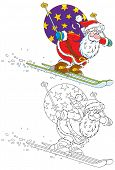 Santa skiing with Christmas gifts