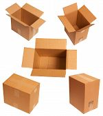 image of fedex  - Packing Of Carton Boxes Isolated On White Backgground - JPG