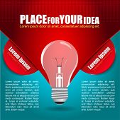 Abstract vector idea background with a bulb and place for two texts