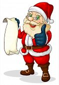 Illustration of Santa holding an empty list for Christmas on a white background