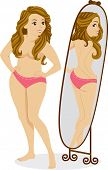 Illustration of a Plump Female Standing in Front of a Mirror and Seeing a Thin Girl in the Reflection