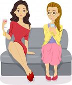 Illustration of a Stylish Girl in Red Sitting Beside a Nerdy Girl in a Party