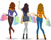 Back View Illustration of Female Shoppers Carrying Shopping Bags