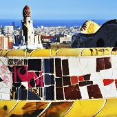 BARCELONA, SPAIN - SEPTEMBER 16: Park Guell on September 16, 2013 in Barcelona, Spain. The park was built between 1900 and 1914 and is part of the UNESCO World Heritage Site Works of Antoni Gaudi