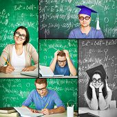 Collage of smart students working by the desk with chalkboard on background