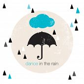pic of dancing rain  - Dance in the rain geometric hipster style umbrella illustration postcard cover design - JPG