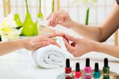stock photo of manicure  - Woman in a nail salon receiving a manicure by a beautician - JPG