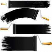 Black Roller Brush on White Background. Vector