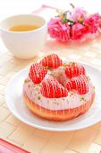 Delicious Strawberry Doughnuts With Tea