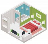 stock photo of flat-bed  - Vector isometric hotel room icon - JPG