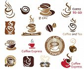 Coffee and Tea. Vector icon collection.