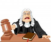 Angry judge with gavel makes verdict for law