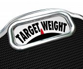 The words Target Weight on a scale display to illustrate weightloss and reaching a desired goal for fitness and health in eating less and exercise