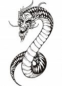 Black And White Oriental Dragon