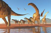 stock photo of herbivore animal  - Two Deinocherius move along with a herd of Agentinosaurus dinosaurs eating any insects and small animals that are stirred up - JPG