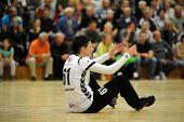 SIOFOK, HUNGARY - SEPTEMBER 14: Melinda Pastrovics in action at a Hungarian National Championship handball match Siofok KC (black) vs. Gyori Audi ETO KC (green), September 14, 2013 in Siofok, Hungary